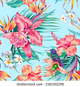 Floral seamless vector tropical pattern with exotic flowers, hibiscus, orchid, palm leaves, jungle leaf, hummingbird, bird of paradise flower. Botanical gentle illustration wallpaper, blue background