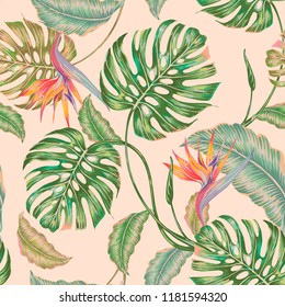 Floral seamless vector tropical pattern background with exotic flowers, jungle leaves, monstera plant leaf, strelitzia, bird of paradise flower. Vintage botanical gentle illustration in Hawaiian style