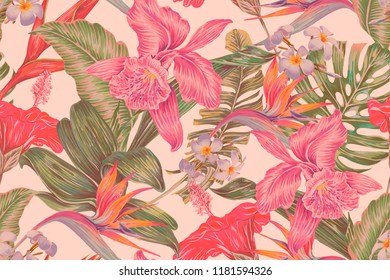 Floral seamless vector tropical pattern background with exotic flowers, palm leaves, jungle leaf, hibiscus, orchid, bird of paradise flower. Botanical gentle wallpaper illustration in Hawaiian style