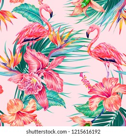 Floral seamless vector tropical pattern background with pink flamingo, exotic flowers, hibiscus, orchid, palm leaves, jungle leaf, bird of paradise flower. Botanical gentle illustration wallpaper