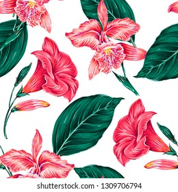 Floral seamless vector tropical pattern background with blooming exotic flowers, jungle leaves, orchid, pink flower. Decorative botanical illustration. Best for wrapping paper, wallpaper, textile