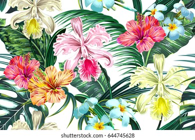 Floral seamless vector tropical pattern, spring summer background with exotic flowers, palm leaves, jungle leaf, hibiscus, orchid flower. Botanical wallpaper, illustration in Hawaiian style