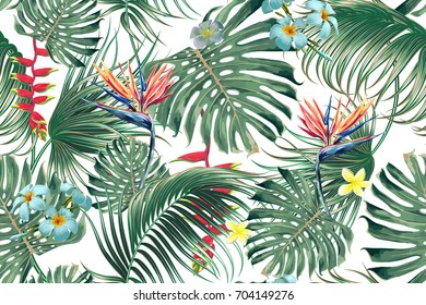 Floral seamless vector tropical pattern background with exotic flowers, palm leaves, jungle leaf, bird of paradise flower. Botanical wallpaper, illustration in Hawaiian style