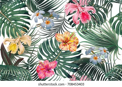 Floral seamless vector tropical pattern background with exotic flowers, palm leaves, jungle leaf, hibiscus, orchid flower. Botanical wallpaper, tropic illustration in Hawaiian style