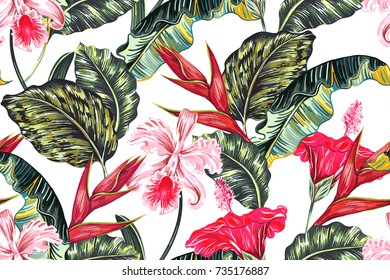 Floral seamless vector tropical pattern background with exotic flowers, palm leaves, jungle leaf, hibiscus, orchid, bird of paradise flower. Botanical wallpaper illustration in Hawaiian style