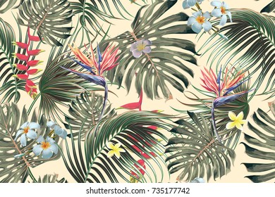 Floral seamless vector tropical pattern background with exotic flowers, palm leaves, jungle leaf, bird of paradise flower. Botanical wallpaper illustration in Hawaiian style