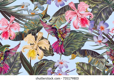 Floral seamless vector tropical pattern background with exotic flowers, palm leaves, jungle leaf, orchid flower, hummingbird. Botanical vintage wallpaper illustration