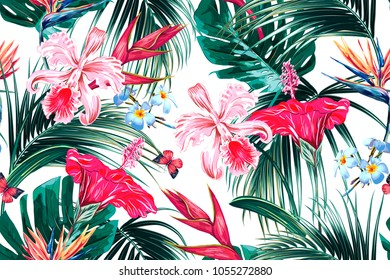 Floral seamless vector tropical summer pattern background with exotic flowers, palm leaves, jungle leaf, hibiscus, orchid, bird of paradise flower, butterflies flying. Botanical wallpaper illustration