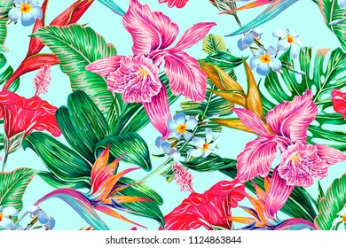 Floral seamless vector tropical summer pattern background with exotic flowers, palm leaves, jungle leaf, hibiscus, orchid, bird of paradise flower. Botanical wallpaper illustration in Hawaiian style