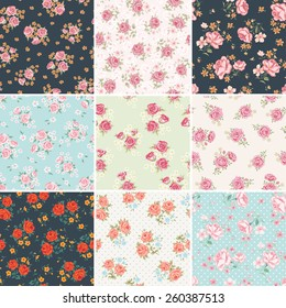 Floral seamless vintage pattern set. Shabby chic rose background collection.