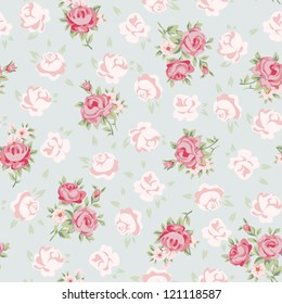 Floral seamless vintage pattern. Shabby chic rose background for you scrapbooking.