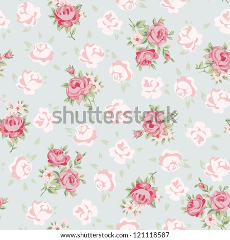 Immagine Vettoriale A Tema Floral Seamless Vintage Pattern Shabby