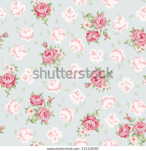 Superb Floral Seamless Vintage Pattern Shabby Chic Stock Vector Beutiful Home Inspiration Xortanetmahrainfo