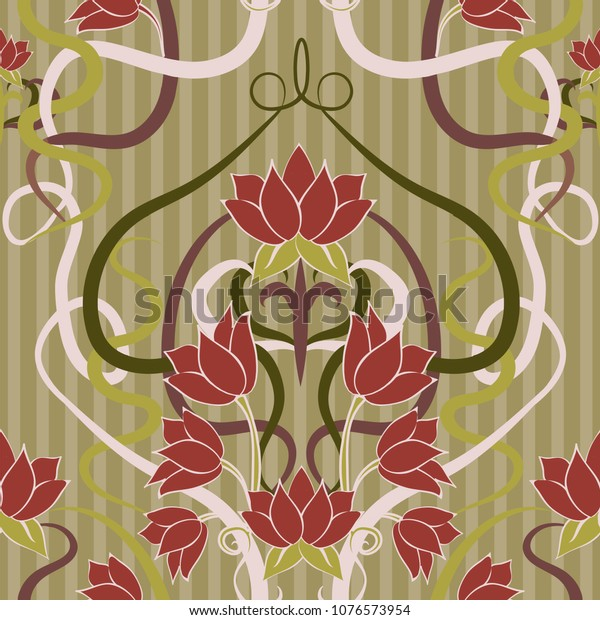 Floral Seamless Wallpaper Art Nouveau Style Stock Vector Royalty Free 1076573954
