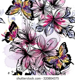 Floral seamless wallpaper pattern with engraved flowers and watercolor  spots