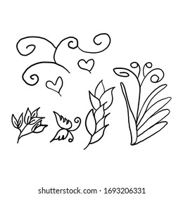 Floral set. Graphic collection with fantasy field. Hand drawn elements. Botanical elements for design on a white background.