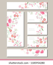 Floral  set with visitcards and greeting templates