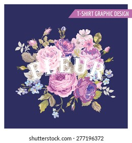 Floral Shabby Chic Graphic Design - for t-shirt, fashion, prints - in vector - Shutterstock ID 277196372