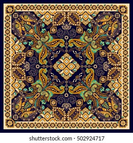 Floral shawl design. Square ornament with decorative flowers and paisley. Indian batik. Stylized flowers and paisley. Indonesian batik. Design for home decor, shawl, blanket, carpet, handkerchief