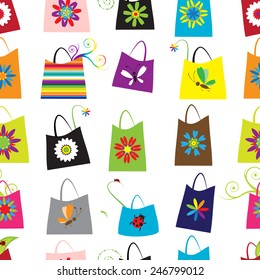 Floral shopping bags, seamless pattern for your design. Vector illustration