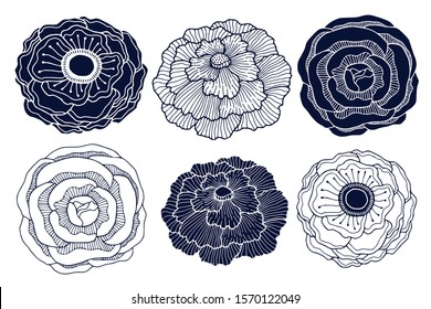 Floral silhouette and linear art design. Interior print pack. Roses, anemone and peony flower. Botanical flowers decoration for invitation card and boutique logo