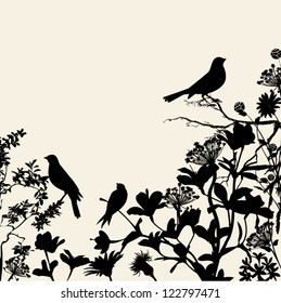 Floral Silhouettes Background Corner - birds perched on flowers and plants in black, against a neutral background