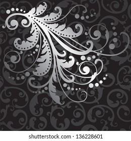 Floral silver design element on seamless black swirls wallpaper pattern. This image is a vector illustration.