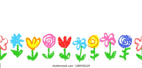 Floral simple seamless pattern, border, header or frame. Like kid`s hand drawn crayon multicolor cute flowers. Pastel chalk or pencil artistic doodle stroke vector summer banner background.