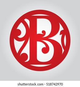 Floral single-letter monogram B. Personalized decorative framed letter B. Initial monogrammed medallion decor. Fancy alphabet for laser cutting. Circle frame initial.