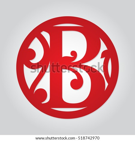 Floral Singleletter Monogram B Personalized Decorative Stock Vector