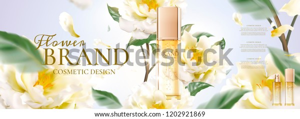Floral Skincare Banner Ads Petals Flying Stock Vector Royalty Free 1202921869