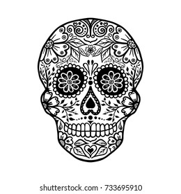 Floral skull, Halloween template for banner or poster. vector illustration.