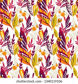 Floral slavic ornament. Seamless vintage slavic pattern with flowers and berries. Traditional Russian ornament with floral elements in red and orange colours.