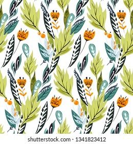 Floral slavic ornament. Seamless vintage slavic pattern with flowers and berries. Traditional Russian ornament with floral elements in green and orange colours.