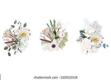Floral spring card composition set for poster graphic design with roses, anemones, white lilies, eucalyptus and succulents. Romantic decorative bouquet.