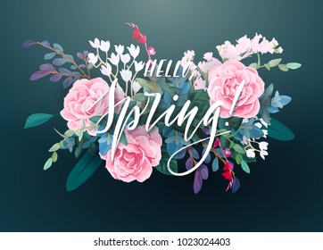 Floral spring card or poster graphic design with pink roses, white flowers, exotic leaves, eucalyptus and succulents. Romantic decorative bouquet. Vector illustration.