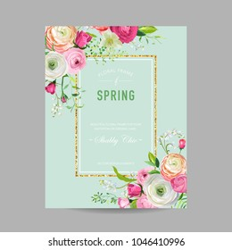 Floral Spring Design Template with Golden Frame for Wedding Invitation, Greeting Card, Sale Banner, Poster, Placard, Cover. Springtime Background with Pink Flowers. Vector illustration