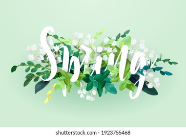 Floral spring design with white flowers, green leaves, eucaliptus and succulents. Vector illustration.