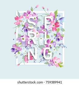 Floral Spring Graphic Design with Dogwood Blossom Flowers for Fashion Print, Poster, T-shirt, Banner, Greeting Card, Invitation. Vector illustration
