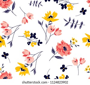Floral spring pattern Ditsy Flowers in vector for textile print,fashion pattern,fabric print
