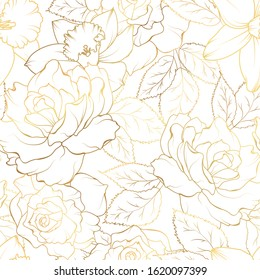 Floral spring seamless pattern. Rose peony daffodil narcissus bloom blossom leaves. Gold shiny outline on white background. Vector illustration for fashion, textile, fabric, decoration.