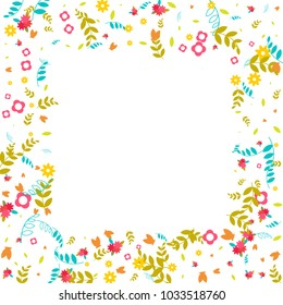 Floral Spring and Summer Vector Wallpaper with Tiny Flowers, Leaves, Butterflies, Green Branches. Easter, Mother's Day, 8 March, Birthday, Wedding Background. Cute Botanical Border, Frame, Wreath.