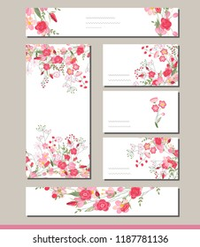 Floral spring templates with cute bunches of red roses.For romantic and easter design, announcements, greeting cards, posters, advertisement.