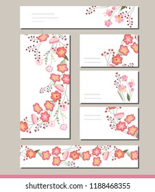 Floral spring templates with cute bunches of pink roses.For romantic and easter design, announcements, greeting cards, posters, advertisement.