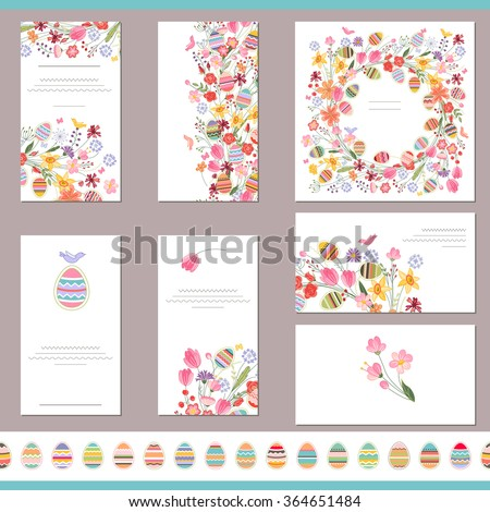Floral spring templates cute flowers painted stock vector royalty floral spring templates with cute flowers and painted eggs endless horizontal pattern brush with eggs mightylinksfo