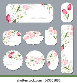 Floral spring templates with cute tulips. For romantic and easter design, announcements, greeting cards, posters, advertisement.