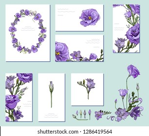 Floral spring templates with elegant bunches of violet purple Eustoma Lisianthus and Freesia. For romantic and wedding design, announcements, greeting cards, posters, advertisement.