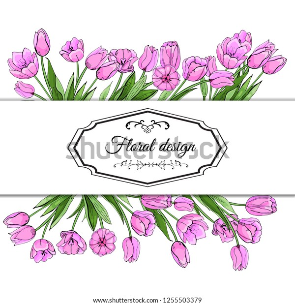 Floral spring templates of  hand drawn pink tulips. Elements for romantic and easter design, announcements, greeting cards, posters, advertisement. Vector illustration on white background