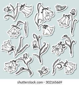 Floral stickers set with bell flower. Natural collection with leaves, plants, worm , ladybird and flying butterfly. Vector illustration in cute children's style.