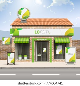 Floral store design with green leaves. Elements of outdoor advertising. Corporate identity